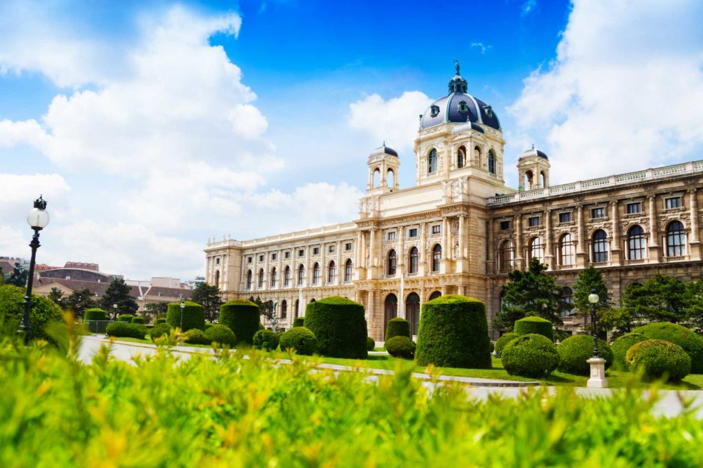 Natural history museum in Vienna, capital city of Austria downtown on sunny spring day